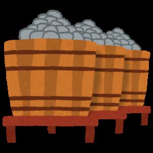 並んだ味噌樽のイラスト
