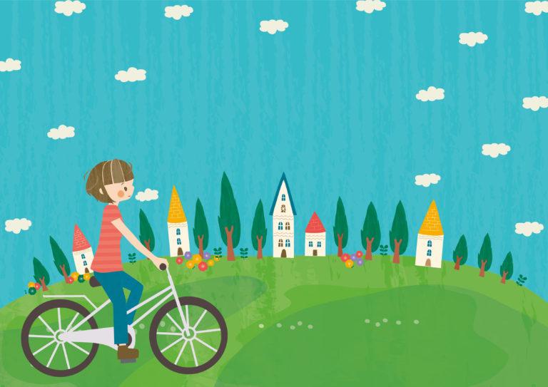 自転車に乗っている女の子